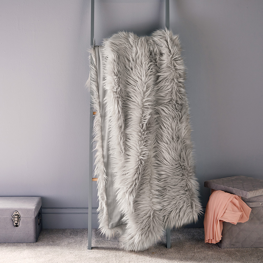 Grey Mongolian Faux Fur Throw