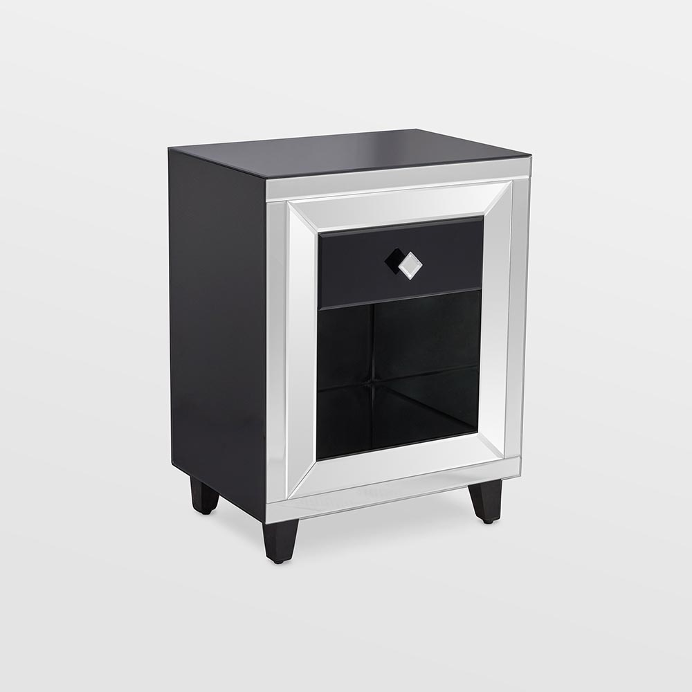 Black Mirrored Bedside Table With Drawer