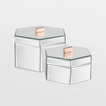 Silver Mirrored Trinket Boxes - Set Of 2