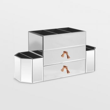 Silver 2 Drawer Mirrored Makeup Organiser