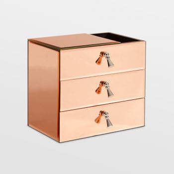 Rose Gold 3 Drawer Mirrored Jewellery Organiser