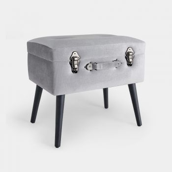 beautify silver velvet storage trunk stool with black legs and graphite hardware