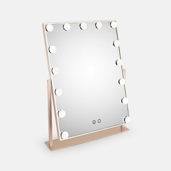 Beautify champagne hollywood mirror with 15 LED bulbs