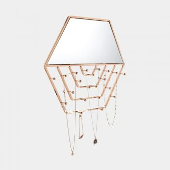 gold hexagon wall mirror with hanging jewellery organiser