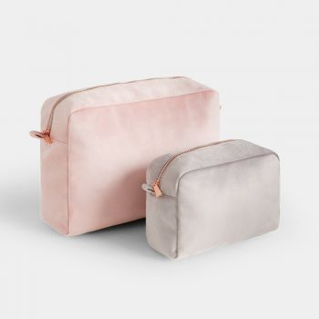 Set Of 2 Velvet Cosmetic Bags