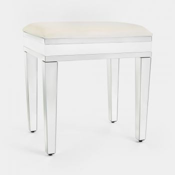 White Mirrored Dressing Table Stool