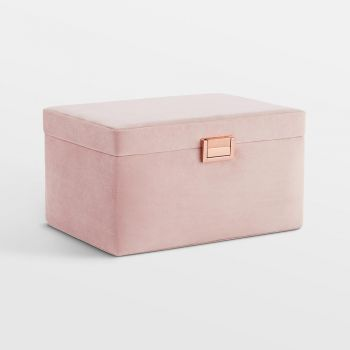 Blush Pink Velvet Jewellery Box