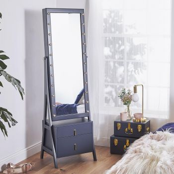 Navy LED Storage Mirror with Drawers