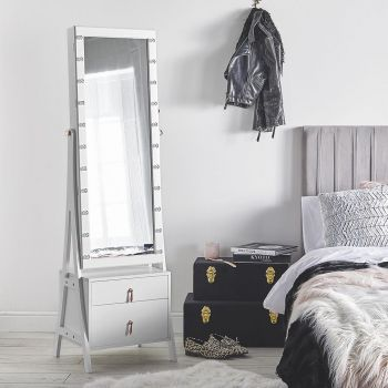 White LED Storage Mirror with Drawers