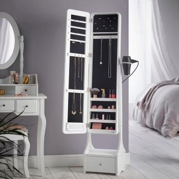 White Illuminating LED Armoire Storage Mirror