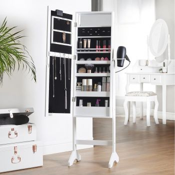 White LED Armoire Storage Mirror