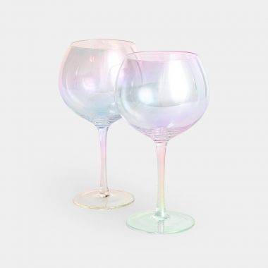 beautify set of 2 iridescent gin glasses