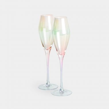 beautify set of 2 iridescent champagne glasses