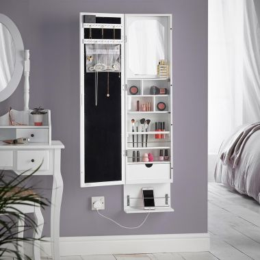 White LED Wall Mounted Storage Mirror