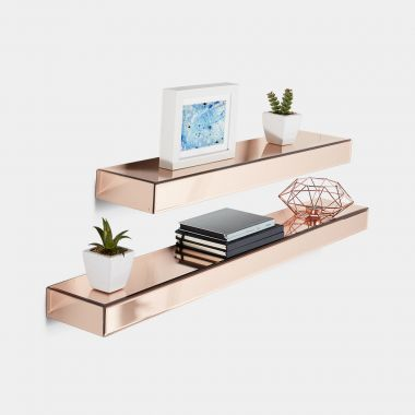 Rose Gold Mirrored Shelves