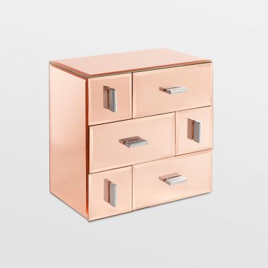 Rose Gold 6 Drawer Mirrored Organiser