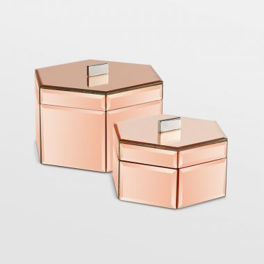 Rose Gold Mirrored Trinket Boxes - Set Of 2