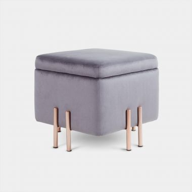 Grey Velvet Storage Stool