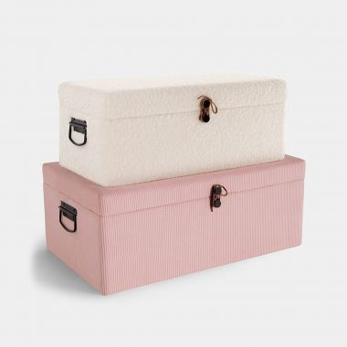 Beautify Set of White Shearling & Pink Chord Storage Trunks