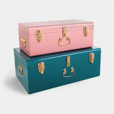 Beautify set of 2 teal & pink metal storage trunks