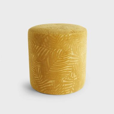 Beautify Mustard Yellow Jacquard Round Velvet Stool
