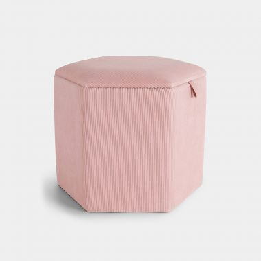 Beautify Pink Hexagonal Storage Stool made from pink corduroy
