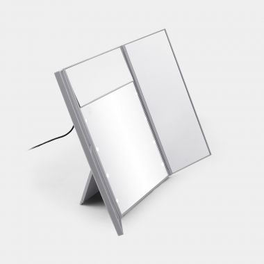 grey tri fold vanity mirror with led lights