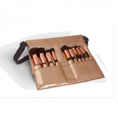 beautify rose gold makeup brush set with rose gold brush belt