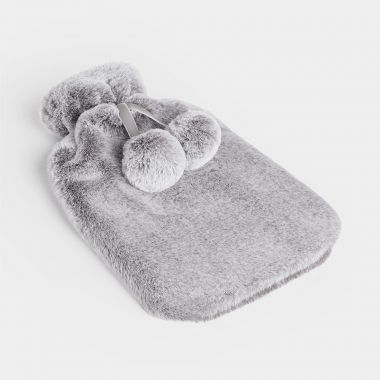 Grey Fur Hot Water Bottle