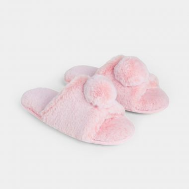 Fur Pom Pom Slipper Set