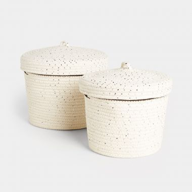 Metallic Thread Rope Storage Basket Set