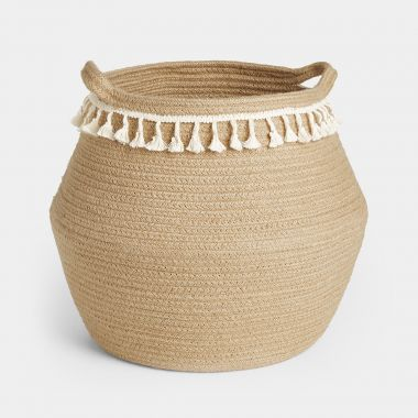 Jute Basket with Cream Fringing