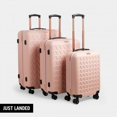3pc Pink & Rose Gold Luggage Set