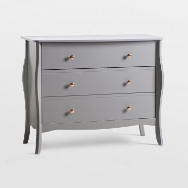 beautify grey chest of drawers with 3 drawers and rose gold handles