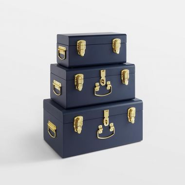 Navy Storage Trunks - Set of 3