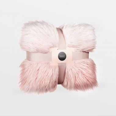 Pink Mongolian Faux Fur Throw