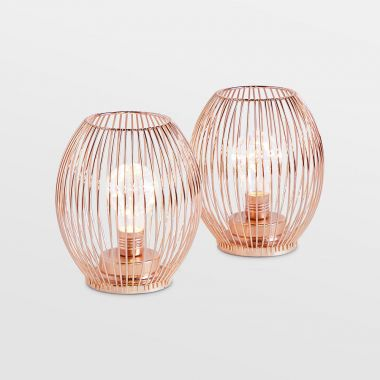 beautify set of 2 rose gold battery powered lanterns
