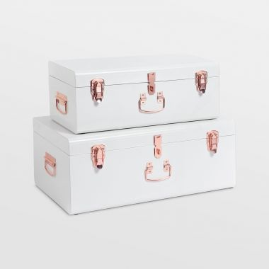 Cream Storage Trunks - Set of 2