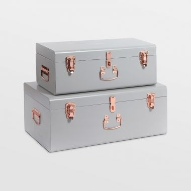 Grey Storage Trunks - Set of 2