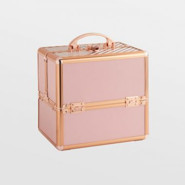 small blush pink makeup case with rose gold hardware