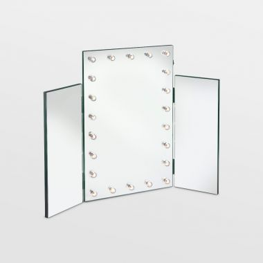 Trifold Mirror with Warm LED Lights