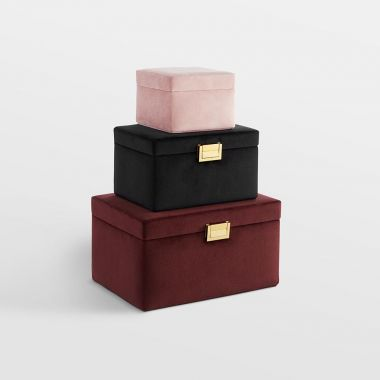 Set of 3 Velvet Jewellery Boxes