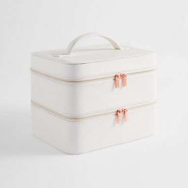 White 2 Tier Makeup Case