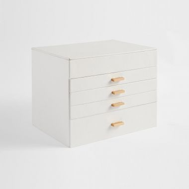 White Faux Leather 5 Tier Jewellery Box