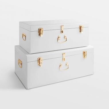 Large White Storage Trunks - Set of 2