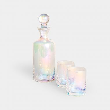 beautify iridescent glass decanter and iridescent glass tumbler set