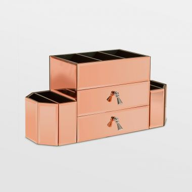 Rose Gold 2 Drawer Mirrored Makeup Organiser