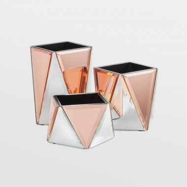 Rose Gold & Silver Mirrored Pot Set